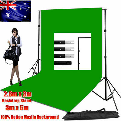 Photography Studio 3x6m Muslin Backdrop Heavy-duty Background Support Stand Kit