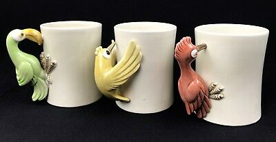 Set of 3 1970's Fitz And Floyd Inc. Bird In Hand Whimsical Mugs