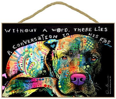 Pit Bull Without A Word There Lies A Dog Dean Russo Wood Plaque Sign