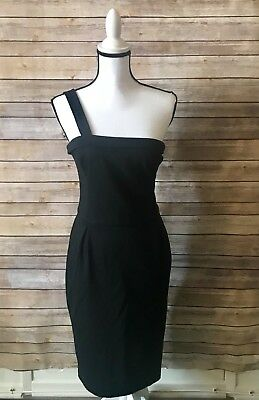 f0c947dbbb0 French Connection Size 6 One Shoulder Little Black Party Pencil Stretch  Dress