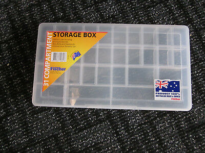 NEW Fischer Plastic Products 31 Compartment Storage Box Large 1H-102 Clear