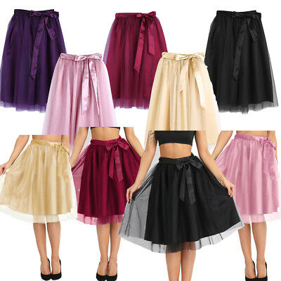 Womens 3 Layer Tulle Skirt Adult Tutu Petticoat Ball Gown Vintage Skater Dress