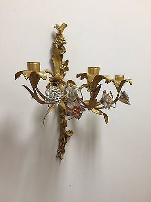 DELICATE PAIR OF 19thc LOUIS XVI STYLE WALL LIGHT SCONCES WITH PORCELAIN FLOWERS