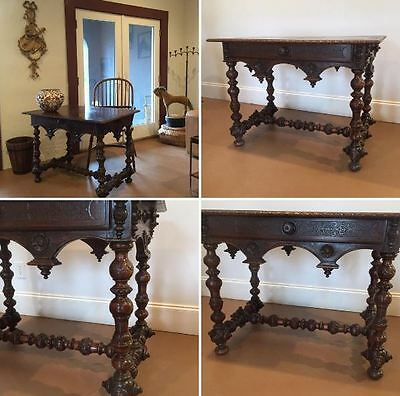 18TH/19th C.CARVED  OAK AND ENGLISH TURNED LEGS DESK WITH CARVED BEASTS ON TOP