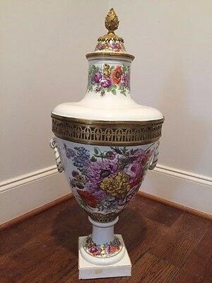 Large Sevre Style Painted Floral Porcelain Floor Potpourri With Bronze Mounts