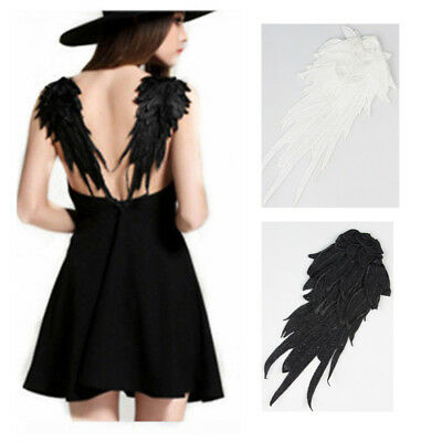 White/Black Angle Wing Shape Venise Embroidery Lace Applique Trims Craft DIY