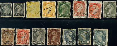 Canada #34-44 used F to VF 1870-1888 Queen Victoria Small Queen Part Set