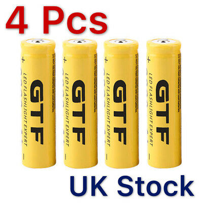 4x 3.7V 18650 9800mah Li-ion Rechargeable Battery For LED Flashlight Torch