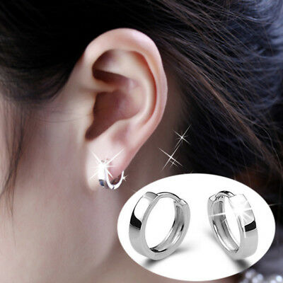 Simple Women 925 Sterling Silver Circle Hoop Drop Dangle Studs Pierced Earrings
