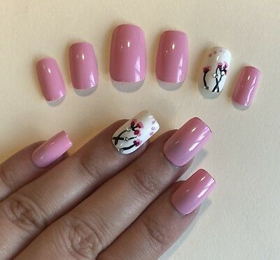 Hand Painted False Nails Square (Or Any Shape) High Gel Gloss Pink Flower UK