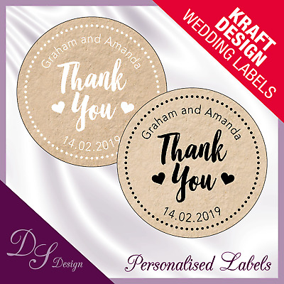 DSD069 Personalised THANK YOU Labels Stickers Kraft Effect Wedding Favours Seals