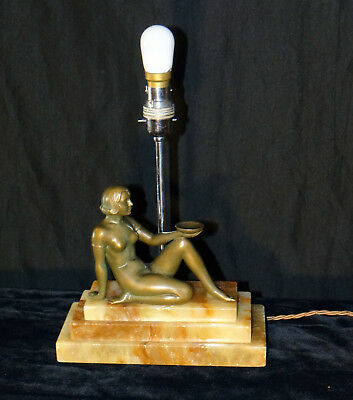 Art Deco Lamp Patinated Bronze Figure of a Woman Sitting a Bowl, France C. 1920