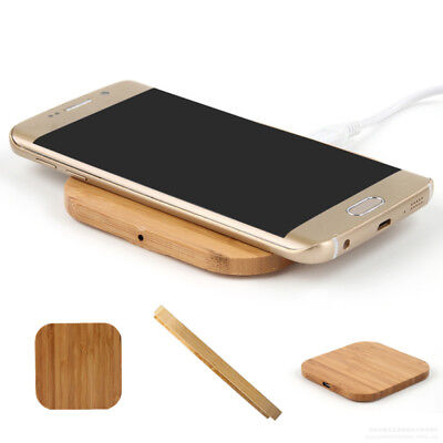 Universal Bamboo Wood Qi Wireless Charger for Nokia Apple & Phone Fast Charge x1