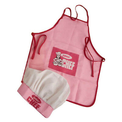 Childs Kids Chef Hat Apron Cooking Baking Boy Girl Chefs Junior Gift (Pink) L4M3
