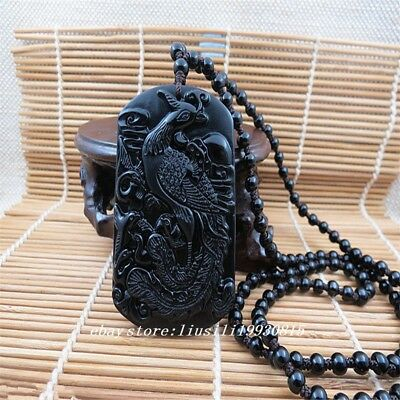 Chinese Beautiful natural obsidian carved dragon jade pendant necklace Phoenix