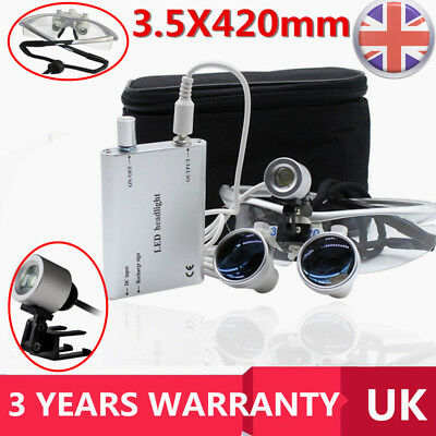 NEW Dental 3.5X420mm Surgical Binocular Loupes LED Head Light Lamp Silver