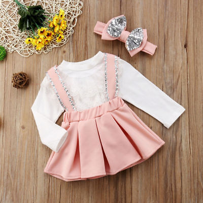 68eb07078f97 3PCS BABY GIRL Kid Lace Top Blouse T-shirts+Bowknot Party Skirt+ ...