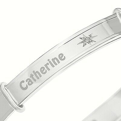 Real Diamond PERSONALISED Baby Bangle Christening Gift Solid Silver 925 Sterling
