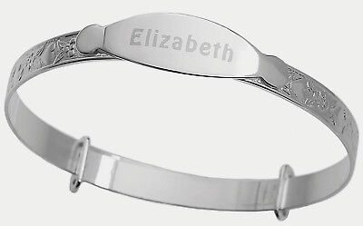 925 Real Silver Personalised Baby's Christening Bangle ID Bracelet Heart Engrave