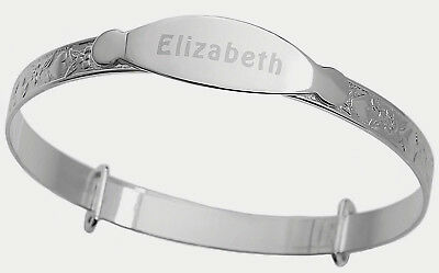 Real 925 Sterling Silver Personalised Baby Christening Bangle Heart Bracelet