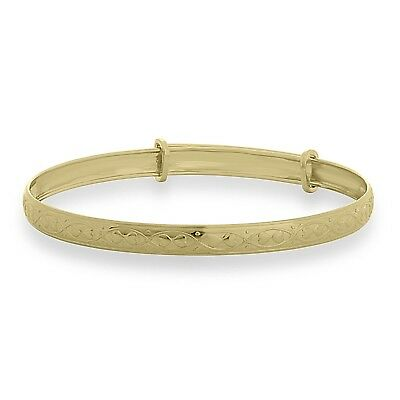 9ct Solid Gold Baby Heart Bangle Birthday Gift Children's Expandable Bracelet