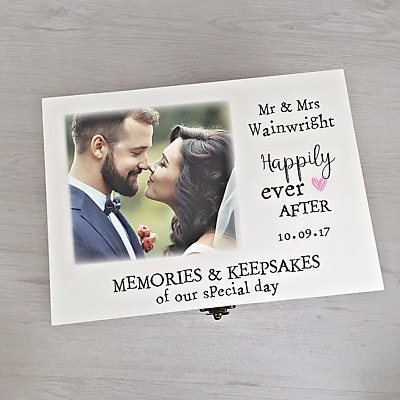 Gorgeous Personalised Wedding Memory Keepsake Box Printed With Your Own Photo