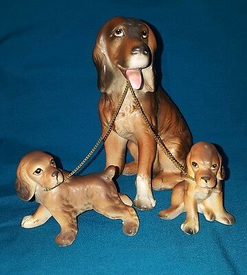 Lipper & Mann Creations Japan- Irish Setter Dog w/2 Pups Porcelain Figurine Set