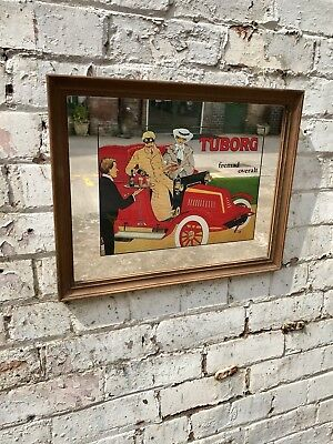 Vintage Pub Advertising Tuborg Mirror Bar Sign Signage Beer Lager 1970's