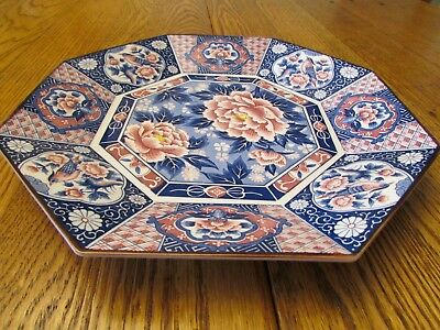 Octagonal Porcelain Platter Garden Birds Japan Vintage Original Very Good