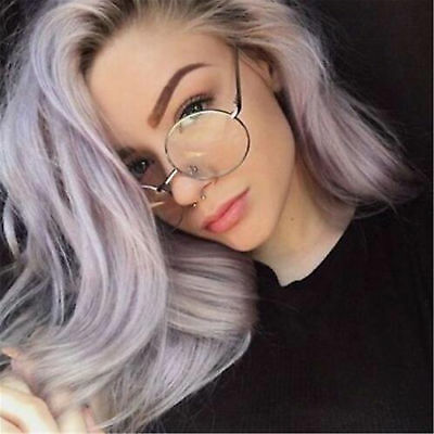 Women Men Large Metal Frame Clear Lens Round Circle Eye Glasses Nerd Oversized