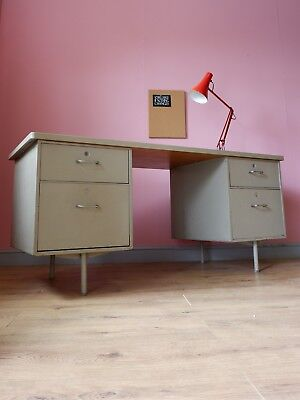 Large vintage industrial style metal desk 1950s 1960s