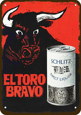 1969 SCHLITZ MALT LIQUOR BEER Vintage Look REPLICA METAL SIGN  BULL ELTORO BRAVO