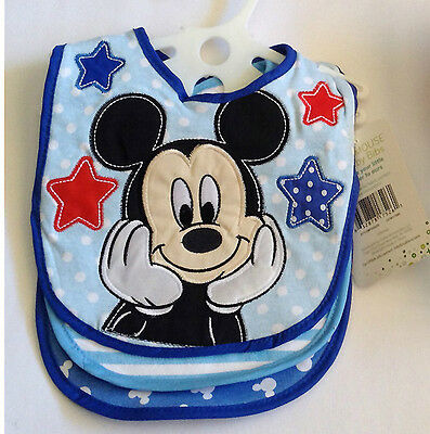 Boys Bibs Mickey Mouse Set of 3 Red White Blue Shower Gift New