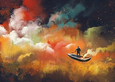 Abstract Colourful Cloud Fantasy Large Poster Art Print - A0 A1 A2 A3 A4