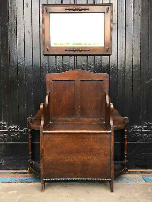 Arts and Crafts Style Antique Oak Hall Seat Umbrella and Stick Hall Stand