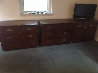 Henredon Mid Century Modern English Campaign Style Bedroom Furniture   8  Pieces