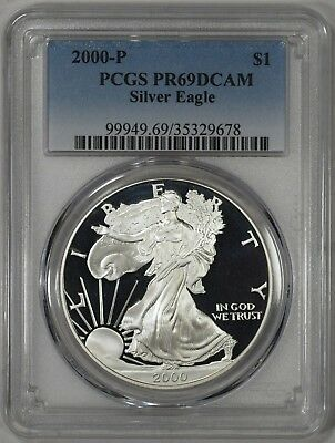 "2000-P Proof Silver American Eagle PCGS PR69DCAM ""DEEP CAMEO PROOF"""