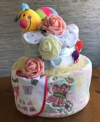 New Handmade 2 Tiered Unisex Baby Nappy Cake Surprise/gift Basket/Baby Shower