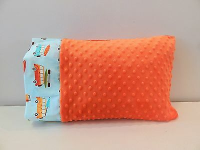 NWT Orange Beach Surf Van Minky Dot Toddler Pillowcase 12 x16  Boy Vehicle