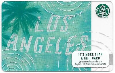 """Starbucks City Gift Card """"Los Angeles Pool Reflection"""" 2017 Mint"""