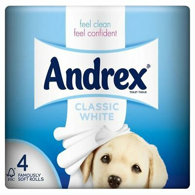 Andrex Classic White Toilet Tissue Rolls - 240 Sheets per Roll (4) - Pack of 6