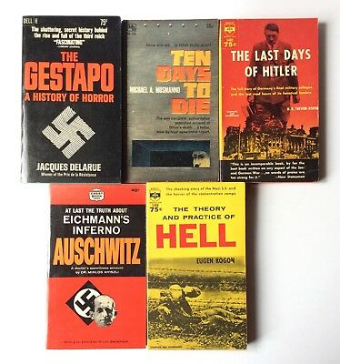 Lot of 5 VTG Paperbacks Hitler Nazi Germany Gestapo Auschwitz Holocaust WW2 VG+