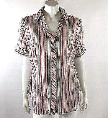 c413d7d6 Dressbarn Womens Top Size 14 16 White Red Green Striped Button Down Shirt  Blouse