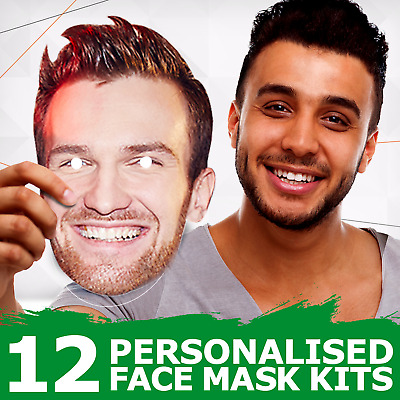 12 Personalised Photo Face Masks Party Accessory Hen Parties Stag Birthdays New