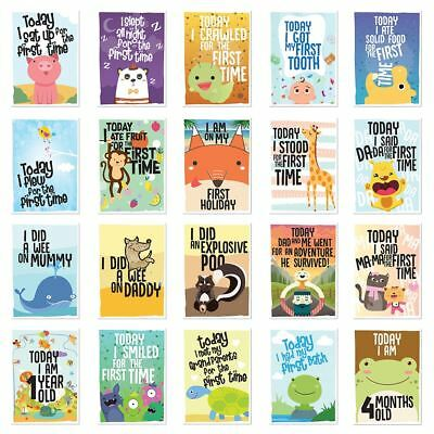 Pack Of 40 Babies 1st Year Memorable Moments Milestone Cards Baby Shower Girl !