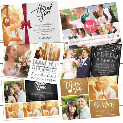 Premium Personalised Wedding Thank You Cards with Photo with FREE Envelopes 50