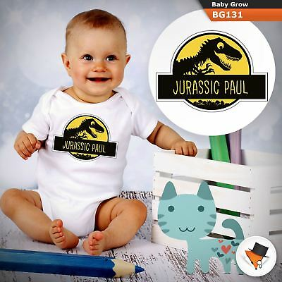 Personalised Jurassic Park Theme  Babygrow Baby Grow  All Sizes  1 ^