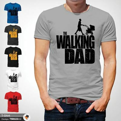 The Walking Dad Parody Father Son Fathers Day Mens T-Shirt Christmas Xmas Gray !