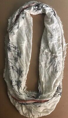 Forever 21 MEN'S Infinity Scarf White/Cream Palm Tree Print NEW WITH TAGS