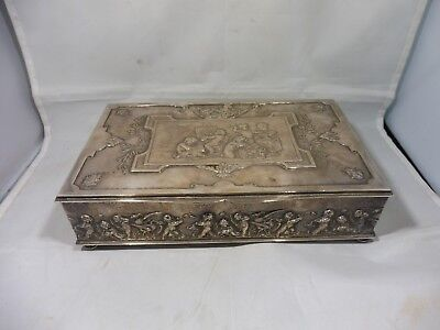 Large Highly Desirable French Silverplate  Box Covered In Putti's Circa 1910